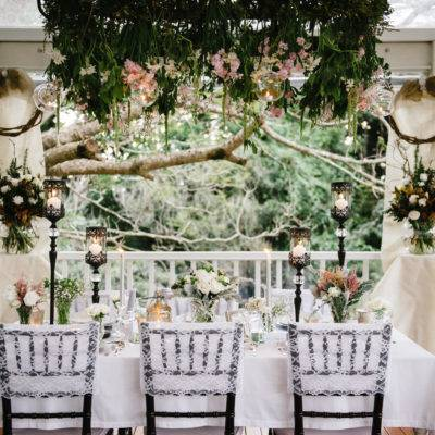 Black Tall candleholdersWhite Lace Tiffany Chair Covers