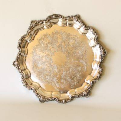 Silver Ornate Serving Tray