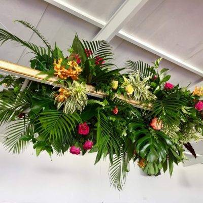 White and Gold Ladder with floral installation