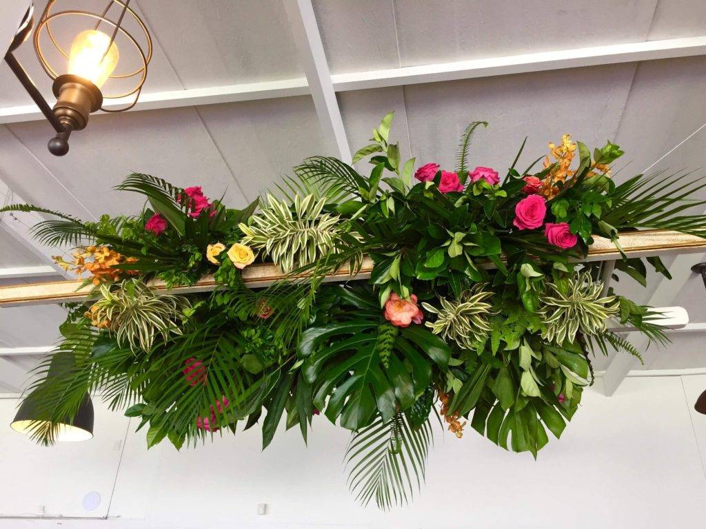 Tropical hanging floral installation