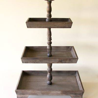 3 tiered wooden cake stand