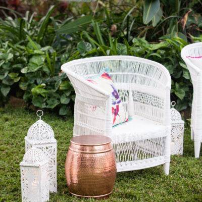 White Malawi Chair White lanterns and copper side table