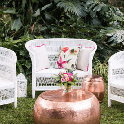 White Malawi Chair and Copper Drum Coffee Table