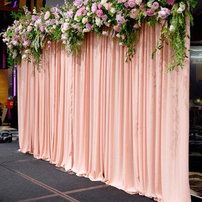 Dusty Pink Chiffon Backdrop and Frame