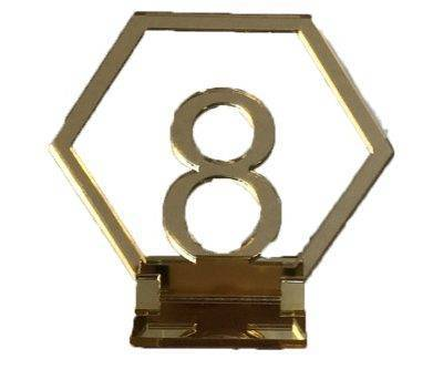 Gold Acrylic Geometric Table Numbers