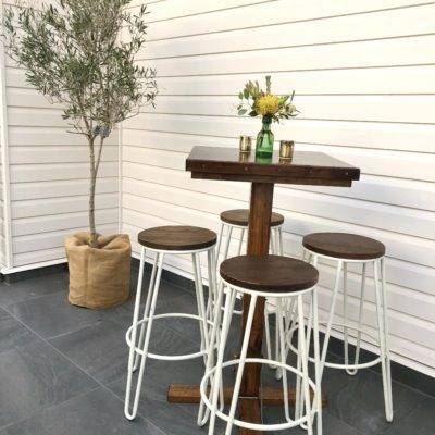 Timber and white hairpin stools