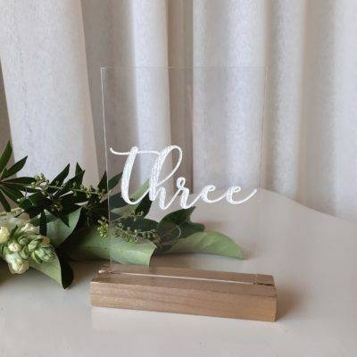 Clear Acrylic Table Numbers with Gold Base